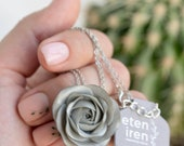 Silver Rose Ranunculus Pendant Medaliion Necklace Wholesale Handmade Women Gift Accessory Jewelry Birthday Wedding Bridal Mother Gift