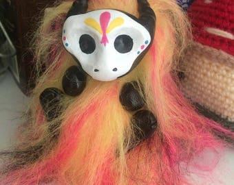 Fluffy Dragon Art Doll - Carnival Sugar Skull - Pink - Yellow - Black