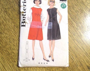 "MOD 1960s A-Line Sleeveless Dress & Spacey Cowl Collar Blouse - Size 12 (Bust 32"") - VINTAGE Sewing Pattern Butterick 3178"