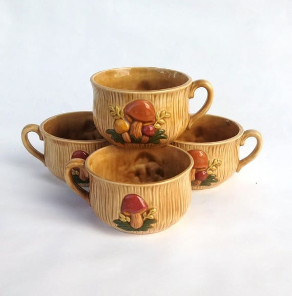 Vintage Kitschy Retro Mushroom Soup Bowl Set of 4