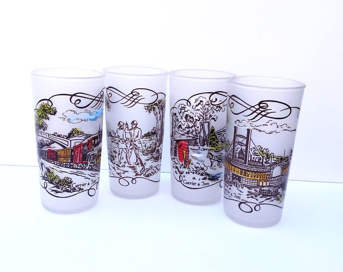 Vintage Currier and Ives Frosted Glass Drinking Glass Set of 4 by Hazel Atlas