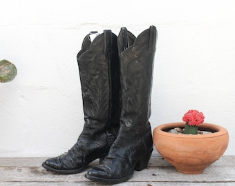 5 B | Women's Cowboy Boots Black Ostrich Skin Country Western Boot by Panhandle Slim