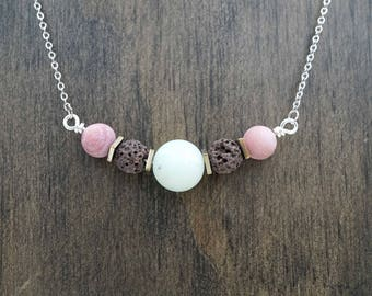 Brown and Rose Gold Aromatherapy Necklace Essential Oil Diffuser Necklace Lava Stone Pink Rhodonite Necklace