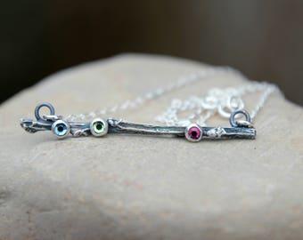 TWIG BIRTHSTONE NECKLACE - twig birthstone bar necklace, bar necklace, twig bar necklace, birthstone bar necklace, hand cast twig necklace