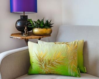 Asian Cushion, Green Accent Pillow, Oriental Pillows for Sofa, Green Cushion, Metallic Pillow, Designer Pillow, Gold Cushion, Japanese Silk