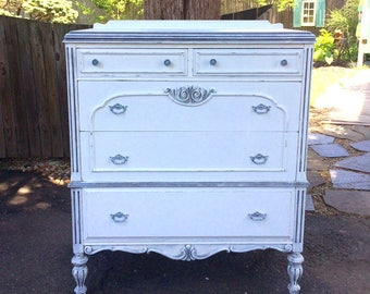 White Dresser Vintage Painted Furniture Shabby Chic