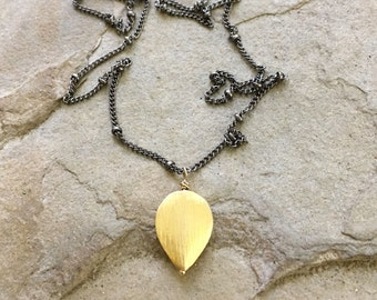Drop of Gold -- Brushed Gold Pendant on Oxidized Chain Black and Gold Jewelry Gold Jewelry Rockstar Rocker Modern Jewelry Stylish Jewelry