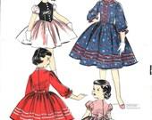 Vintage Little Girls Dress Pattern 1950s Tyrolean Austrian Style Puff Sleeve Full Gathered Skirt Advance 8142 Size 4 Uncut
