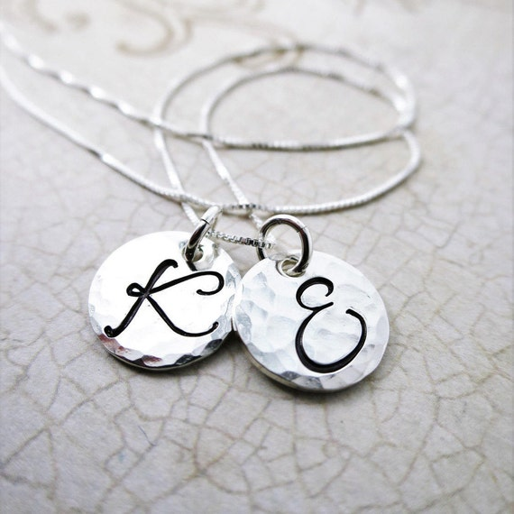 Personalized 2 Disc Necklace | Sterling Silver Initial Jewelry | Custom Jewelry | Mommy Jewelry