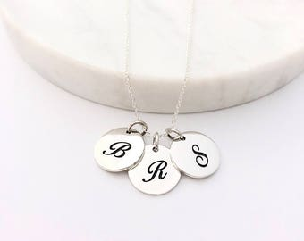 3 Script Initial Charm Necklace - Personalized Jewelry - Silver Initial Necklace - Mommy Necklace - Initial Necklace