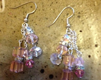 Clear and pale pink crystal dangle earrings,