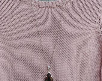Pink Crystal Key Necklace