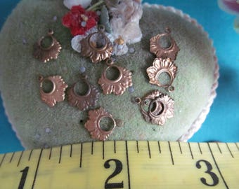 24 Vintage Tiny Brass Shabby Chic, Boho, Gypsy , Hooped Hoops