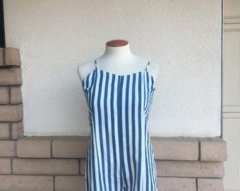 Vintage 80s Blue Striped Romper Jumpsuit Playsuit Small