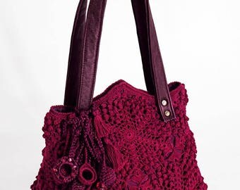 "Boho Eco Handbag ""Ripe Cherry"" (crocheted boho-chic eco-friendly handbags buy)"