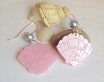 Mermaid Earrings - Slogan Mermaid Life, Shells, Swarovski, Rose Gold, Seaside, Beach, Summer, Pink, Powder Blue