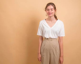 High-Waist Linen Pants / 90s Pleated Pants / Minimalist Tailored Pants / Tapered Ankle Pants Δ size: M