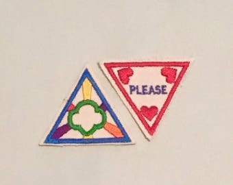 2 1980s Brownie Try Its / Girl Scout Patches / Badges Triangle, Embroidered, Girl Scout Ways 1989 and Manners 1989, Retired