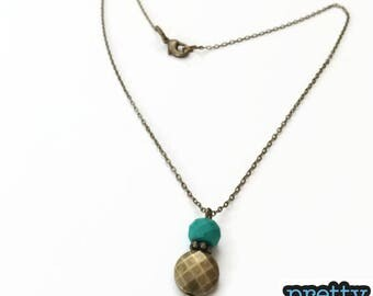 Turquoise and bronze facets necklace