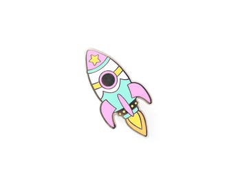 Pastel Retro Rocket Enamel Pin - Hard Enamel Pin Cloisonné Spaceship Lapel Pin Rocket Pin Badge Kawaii Rocket Ship Pin Sci-Fi Pin