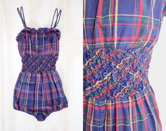 Vintage 1950s Bathing Suit, 50s Plaid Swimsuit, Red, Blue, Pin Up, Playsuit, One Piece, Swimwear