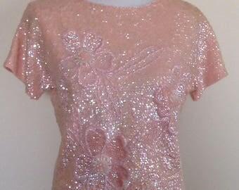 Pink sequin beaded flower top