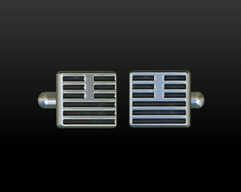 Cufflinks cuff links mens cufflinks gift for men mens jewelry silver cufflinks  square cufflinks gemelos  gemelli i-ching CS3