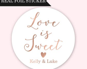 Love is Sweet Stickers, Wedding Favor Stickers, Wedding Dessert Bar Stickers, Wedding Candy Bar Stickers, Love is Sweet Favor Stickers