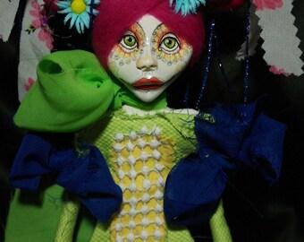 ooak art doll, pink hair