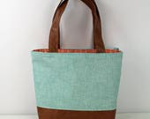 Lulu Large Tote Diaper Bag Canal Denim with PU Leather  - READY to SHIP Carrots Trellis Lining With Shoulder Straps 6 pockets Nappy Bag