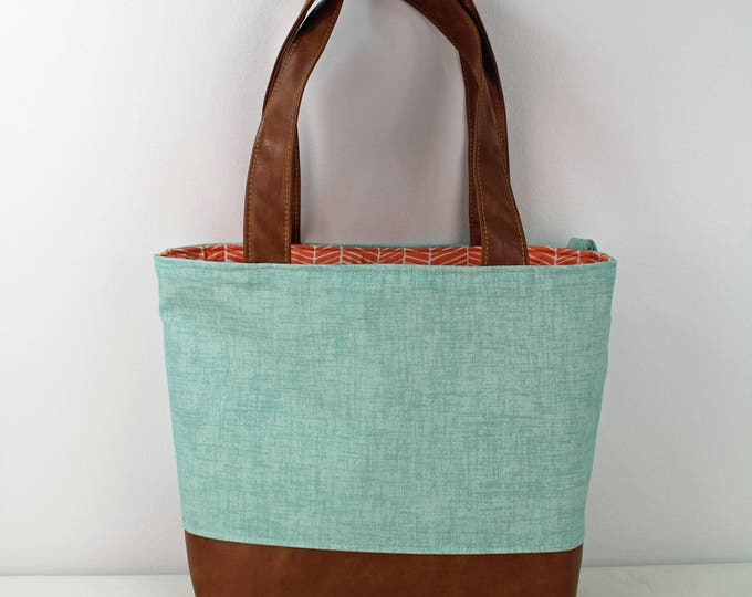 Lulu Large Tote Diaper Bag Canal Denim with PU Leather  - READY to SHIP