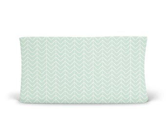Changing Pad Cover Mint Chevron- Mint Changing Pad- Chevron Changing Pad- Changing Pad Cover- Minky Changing Pad- Organic Changing Pad