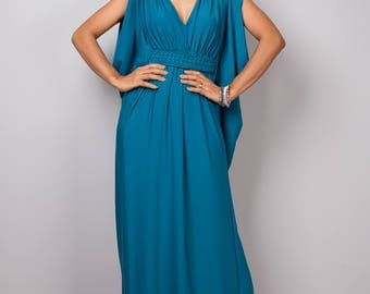 Teal dress, maxi dress, empire dress, long teal dress, sleeveless dress, tube dress, blue teal dress : Funky Elegant Collection no 40