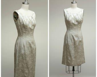 Vintage 1950s Dress • Silver Belles • Polished Brocade 50s Cocktail Dress Size Small
