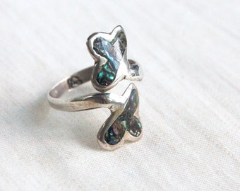 Abalone Wrap Ring Adjustable Lucky Clover Vintage Mexican Sterling Silver Bypass Ring Boho Jewelry Size 8