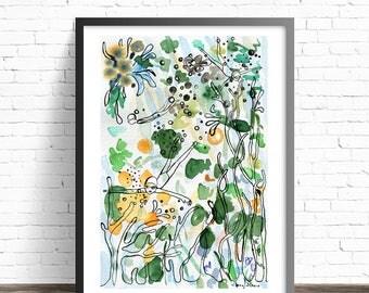 Swimming print. Watercolor illustration print. Line drawing print. Sea art. Coral reef decor. Water art. Sea print. Illustration art