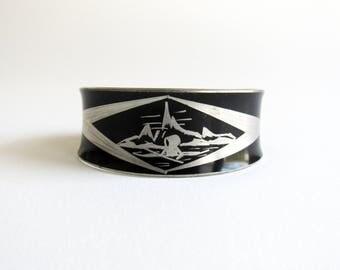 Jorgen Jensen Vintage Pewter Scandinavian Cuff Bracelet with Eskimo Kayak
