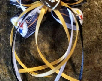 Go Steelers!  Hair Bow Barrette with Streamers