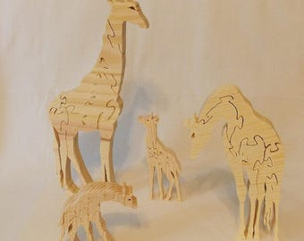 Wooden Giraffe Family Jigsaw Puzzle Stacking Toy Statues