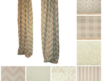 Beige Window Curtains- Pair of Drapery Panels- Cloud Linen Curtains- Oatmeal Drapes- Tan Curtain Panels- Custom Drapes- Chevron Curtains