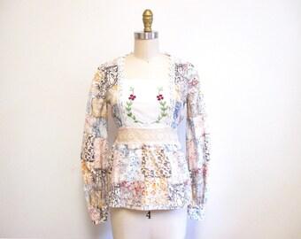 Vintage 1960s Blouse   Batik Print Floral Embroidered 1960s 70s Boho Blouse   size small