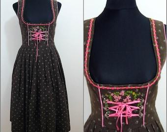 Bohemian VINTAGE Bavarian DIRNDL Brown Flower Lace Front Folk Dress UK 10 FR38 Oktoberfest / Tyrol / Austrian / German