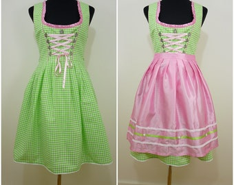 Bohemian Vintage Bavarian Green White Gingham Check DIRNDL Folk Dress UK 10 FR 38 Oktoberfest / Austrian / German/ Tyrol / Trachten