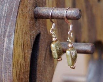 Gold/Green Freshwater Pearls and Copper Earrings