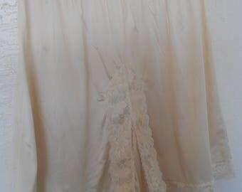 Vintage Split Slip Pettipants Panties  Knickers Lorraine Plus Size 3X Beige Coulottes