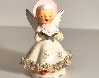 September Birthday Angel Figurine Collectible, ARTMARK Originals, Japan, Curior Figurine, Choir Angel, Gold Spagetti Trim