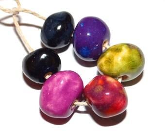 Ceramic Nugget Bead Set Stoneware Handmade Pottery Beads Pebbles Purple Green Orchid Black Jewel