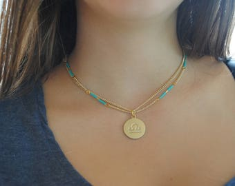 Matte gold tone zodiac pendant, zodiac sign pendant, delica miyuki seed beads, zodiac necklace, zodiac sign necklace, birthday gift