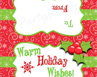 INSTANT DOWNLOAD - Warm Holiday Wishes - Treat Bag Toppers - Merry Christmas - Happy Holidays
