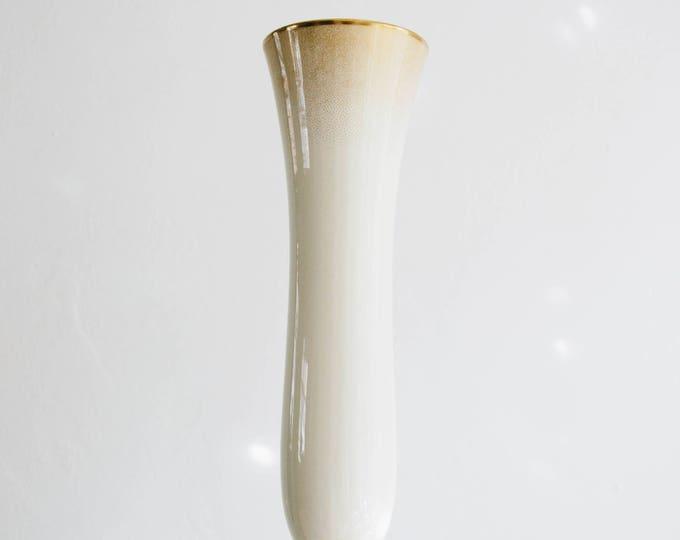Vintage Rosenthal Ivory and Gold Glazed Porcelain Vase // 1950s // Mid Century Modern Home Decor